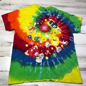 M&M vintage T-shirt tie dye size medium rainbow